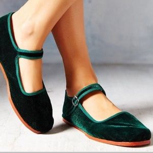 Green velvet Mary Janes from urban outfitters